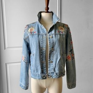 HENG SHENG Women's Floral Denim Jacket
